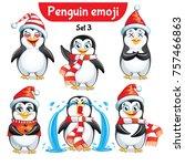 vector set of christmas penguin ... | Shutterstock .eps vector #757466863
