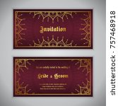luxury wedding invitation with... | Shutterstock .eps vector #757468918