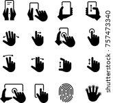 hand gestures icons | Shutterstock .eps vector #757473340