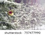 old handmade glass christmas... | Shutterstock . vector #757477990