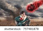 careless man drinking coffee... | Shutterstock . vector #757481878