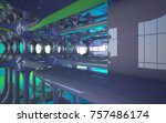 abstract dynamic interior with... | Shutterstock . vector #757486174