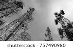 antennas and microwaves link... | Shutterstock . vector #757490980