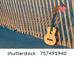 six string guitar with american ... | Shutterstock . vector #757491940