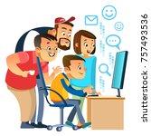 creative coworkers smiling...   Shutterstock .eps vector #757493536