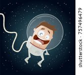 funny astronaut in space clipart | Shutterstock .eps vector #757496479