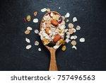 top view of the wooden spoon... | Shutterstock . vector #757496563