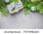 christmas background in gray... | Shutterstock . vector #757498264