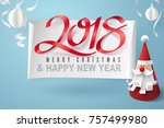paper art of santa claus and... | Shutterstock .eps vector #757499980