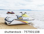 boats  scooters parked waiting... | Shutterstock . vector #757501108