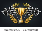 realistic golden trophy with... | Shutterstock .eps vector #757502500