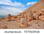 statues on top of the nemrut... | Shutterstock . vector #757503928
