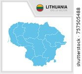 lithuania map and flag in white ... | Shutterstock .eps vector #757505488