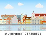 street of the old city ... | Shutterstock .eps vector #757508536