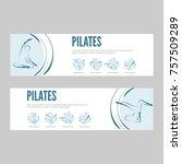 pilates web banners | Shutterstock .eps vector #757509289