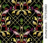 baroque embroidery striped... | Shutterstock .eps vector #757510483
