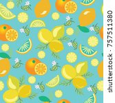 orange and lemon background.... | Shutterstock .eps vector #757511380