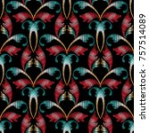 damask embroidery seamless...   Shutterstock .eps vector #757514089
