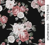floral seamless pattern with... | Shutterstock . vector #757519618