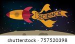 red and orange space rocket... | Shutterstock . vector #757520398