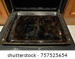 dirty oven baking tray at... | Shutterstock . vector #757525654