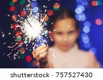 happy small girl looking with... | Shutterstock . vector #757527430