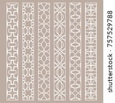 vector set of line borders with ... | Shutterstock .eps vector #757529788