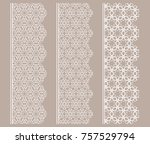 vector set of line borders with ... | Shutterstock .eps vector #757529794