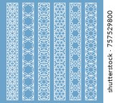 vector set of line borders with ... | Shutterstock .eps vector #757529800