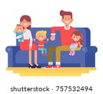 happy family together. mom  dad ... | Shutterstock .eps vector #757532494
