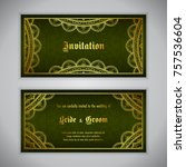 luxury wedding invitation with... | Shutterstock .eps vector #757536604