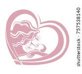 mother and child in heart  logo ... | Shutterstock .eps vector #757538140