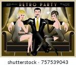 retro party invitation card.... | Shutterstock .eps vector #757539043