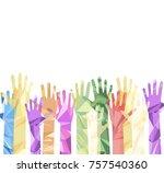 silhouette of hands raised... | Shutterstock .eps vector #757540360