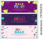 memphis style banner design set ... | Shutterstock .eps vector #757542376