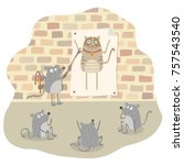 belling the cat. the mice plan... | Shutterstock .eps vector #757543540
