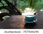 a cup of matcha green tea latte ... | Shutterstock . vector #757544194