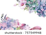 watercolor bouquet of pink... | Shutterstock . vector #757549948