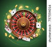 casino roulette illustration | Shutterstock .eps vector #757554016