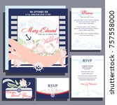 set of wedding cards or... | Shutterstock .eps vector #757558000