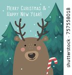 new year s icon bear with candy.... | Shutterstock .eps vector #757558018