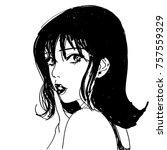 line art sketch of beautiful... | Shutterstock .eps vector #757559329