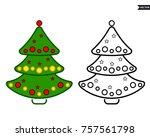 christmas tree  vector line... | Shutterstock .eps vector #757561798