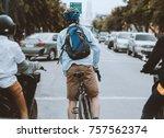 bike at the summer sunset on...   Shutterstock . vector #757562374