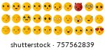 emoticons or smileys icons set... | Shutterstock .eps vector #757562839