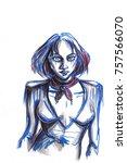 pencil drawing portrait of... | Shutterstock . vector #757566070
