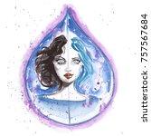 watercolor portrait of... | Shutterstock . vector #757567684