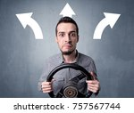 young man holding black... | Shutterstock . vector #757567744