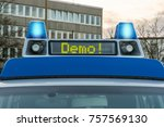 police car with the word demo... | Shutterstock . vector #757569130