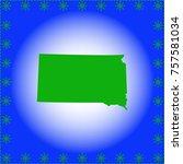 map of south dakota  | Shutterstock .eps vector #757581034